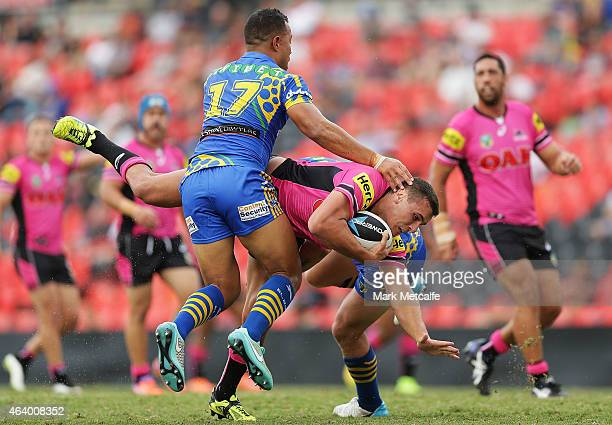 Reagan Campbell-Gillard of the Panthers is tackled during the NRL Trial Match between the Penrith Panthers and the Parramatta Eels at Sportingbet...