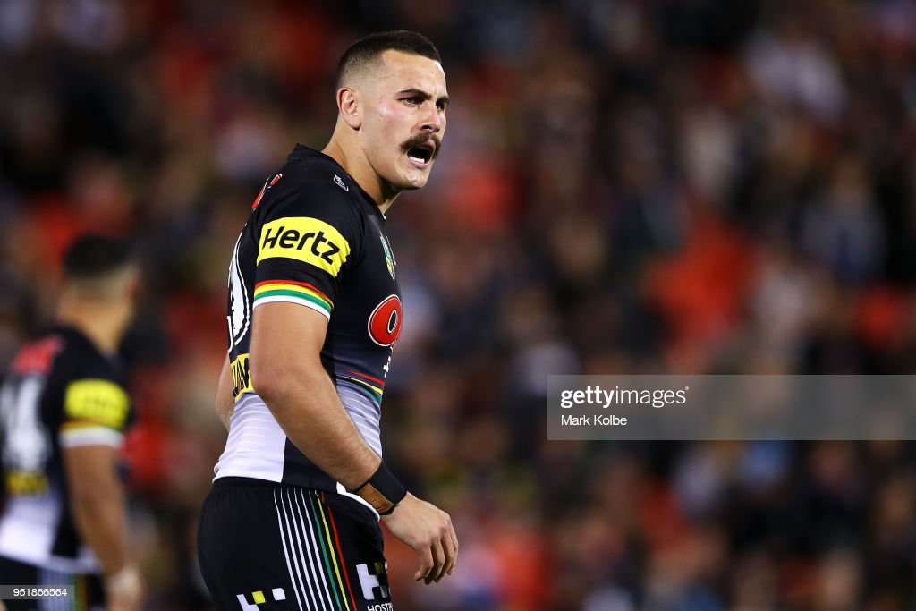 Reagan Campbell-Gillard of the Panthers shouts instructions during the NRL round eight match between the Penrith Panthers and Canterbury Bulldogs on April 27, 2018 in Penrith, Australia.