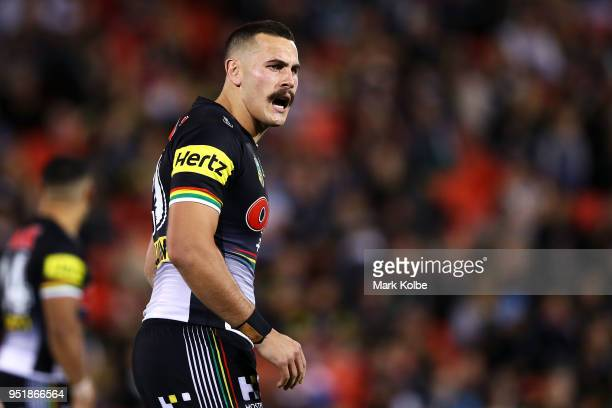 Reagan Campbell-Gillard of the Panthers shouts instructions during the NRL round eight match between the Penrith Panthers and Canterbury Bulldogs on...