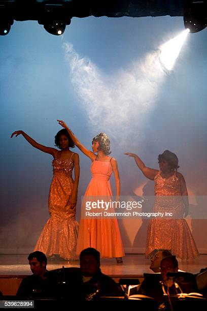 Reagan High School Blue Jesters production of Dreamgirls showing high school actresses portraying Effie Melody White Lorrell Robinson and Deena Jones...