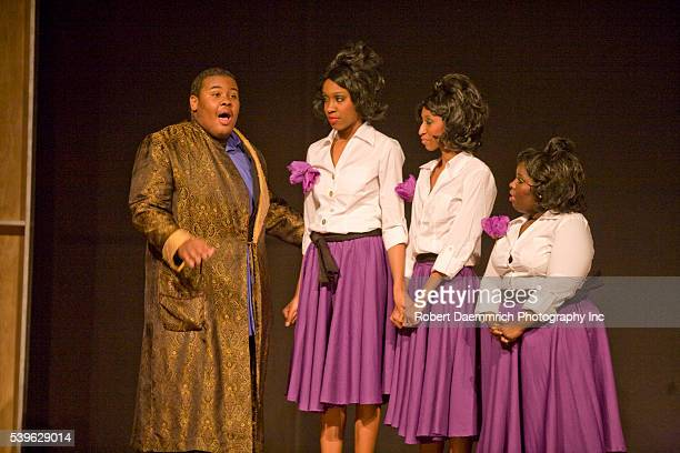 Reagan High School Blue Jesters production of Dreamgirls showing high school actresses portraying Jimmy Thunder Early Lorrell Robinson Deena Jones...