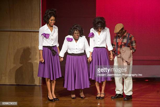 Reagan High School Blue Jesters production of Dreamgirls showing high school actresses portraying Effie Melody White Lorrell Robinson Deena Jones and...
