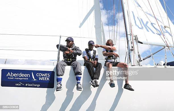 Reagan JoepephHenry and Kirk Read and Elroy Palmer of St Giles Trust sail during Aberdeen Asset Management Cowes Week on August 6 2016 in Cowes...