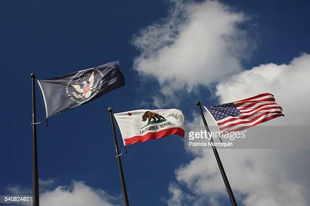Reagan Library flag California flag and American flag at Ronald Reagan Library Simi Valley California November 2006