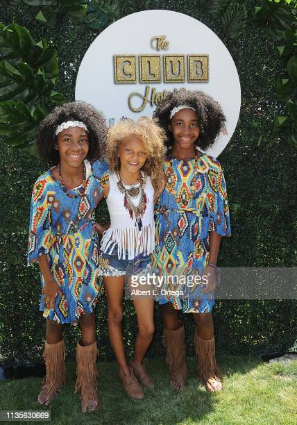 Reagan Payton Jackson and Zuri Miles arrive for Clubhouse Kidchella held at Pershing Square on April 6 2019 in Los Angeles California
