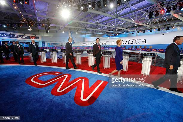 Reagan Presidential Library Simi Valley LA CA September 16 Air Force One Shows Candidates Walking On Stage For Photo Including Mike Huckabee Ted Cruz...