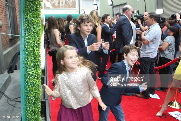 Reagan Revord Montana Jordan and Iain Armitage of YOUNG SHELDON pose for a photograph at the CBS Summer soirée held on August 1 2017 in Los Angeles CA