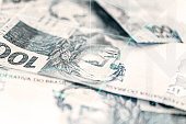 reais banknotes background with graphics lines