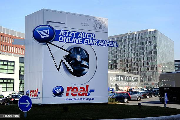 A real advertising billboard retail chain of German retail giant Metro Group can be seen on shopping trolleys on March 22 2011 in Ratingen western...