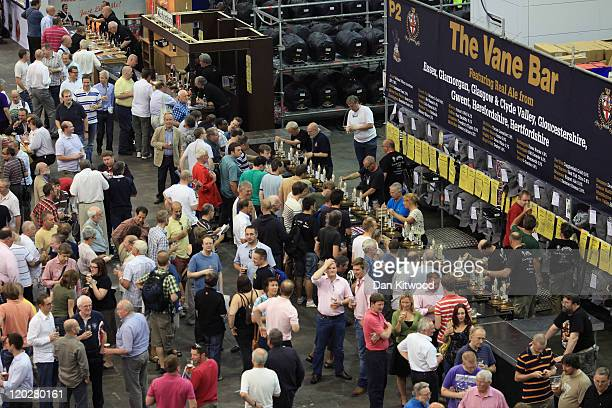 Real ale enthusiasts gather at the CAMRA Great British Beer festival on August 3, 2011 in London, England. The 5-day event is Britain's largest beer...