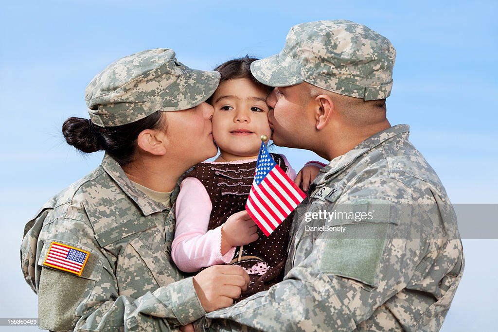 Real American Army Family Outdoor : Stock Photo