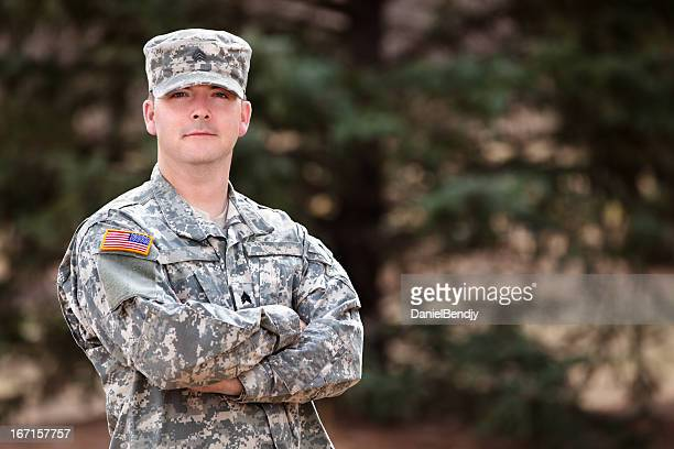 real american soldier in army combat uniform or acu - army soldier stock photos and pictures
