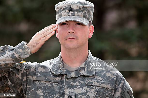 Real American soldier in army combat uniform or ACU