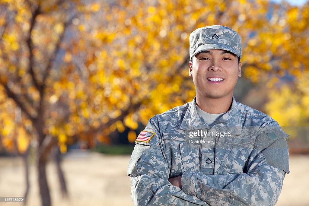 Real American Soldier Outdoor Against Autumn Background : Stock Photo