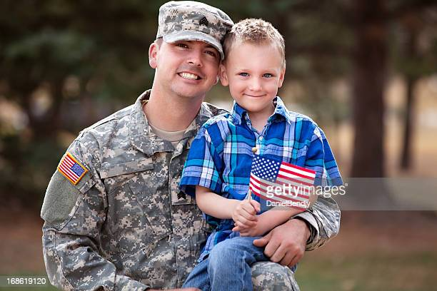 Real American Soldier & Son Smiling Outdoor