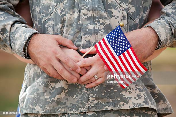 real american soldier & wife outdoor - military spouse stock pictures, royalty-free photos & images