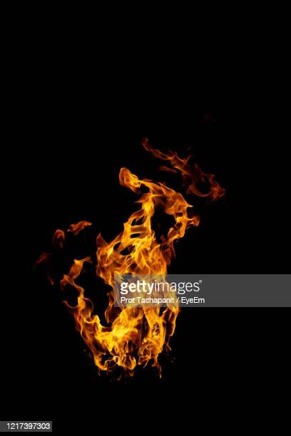 real and hot flames are burning on a black background. - 火 ストックフォトと画像