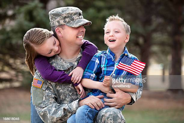 real army family outdoor - military flags stock photos and pictures