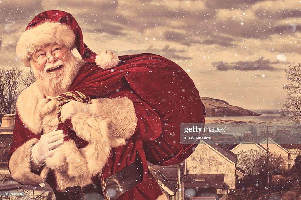 Real authentic Christmas photo of Santa Claus coming to town : Stock Photo