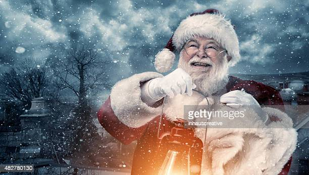 Real authentic Christmas photo of Santa Claus coming to town