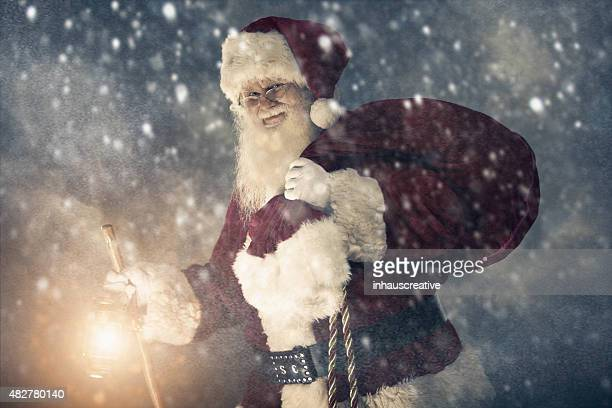 Real authentic Christmas photo of Santa Claus in a storm.