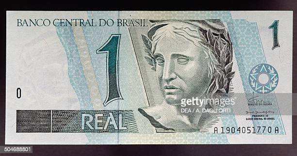 1 real banknote obverse statue of the Republic Brazil 20th century