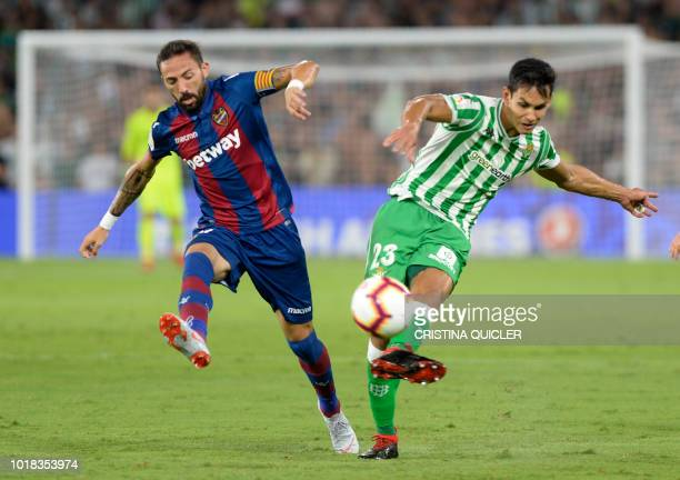 Real Betis' Algerian defender Aissa Mandi vies for the ball with Levante's Spanish midfielder Jose Luis Morales during the Spanish league football...