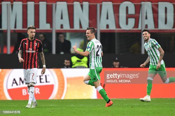 Real Betis' Argentine midfielder Giovani Lo Celso celebrates after scoring his team's second goal during the UEFA Europa League group F stage...