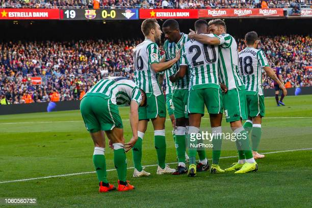 Real Betis Balompie defender Junior Firpo celebrates scoring the goal during the match FC Barcelona against Real Betis Balompie for the round 12 of...
