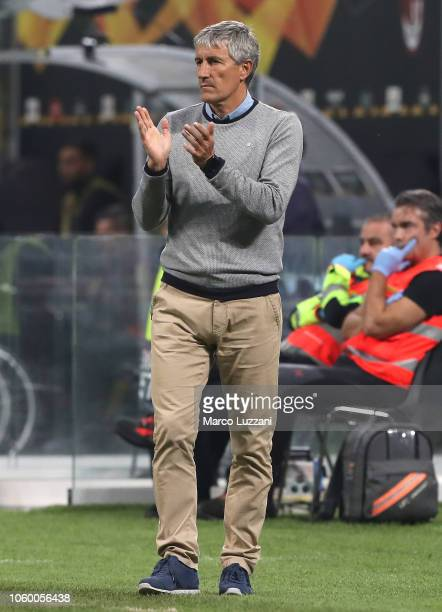 Real Betis coach Enrique Setien Solar issues instructions to his players during the UEFA Europa League Group F match between AC Milan and Real Betis...