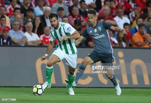 Real Betis defender Jordi Amat with Benfica's forward Jonas from Brasil in action during the Algarve Cup match between SL Benfica and Real Betis at...