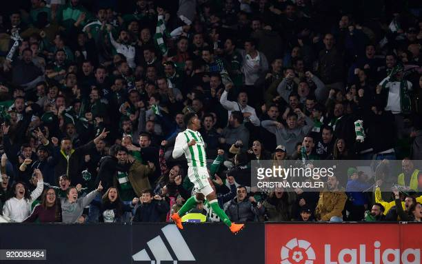 Real Betis' Dominican defender Junior Firpo celebrates a gol during the Spanish Liga football match Real Betis vs Real Madrid at the Benito...