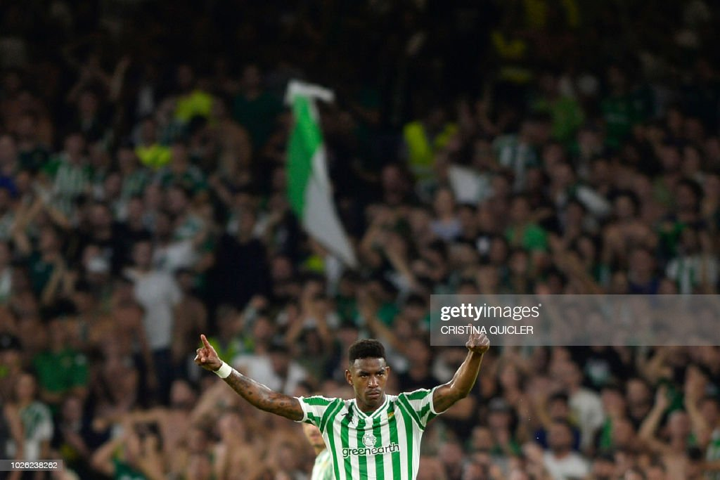 Real Betis' Dominican defender Junior Firpo reacts during the Spanish league football match between Real Betis and Sevilla FC at the Benito Villamarin stadium in Seville on September 2, 2018.