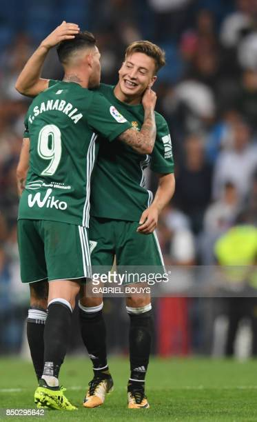 Real Betis' forward from Paraguay Arnaldo Sanabria celebrates a goal with Real Betis' forward from Spain Francis Guerrero during the Spanish league...