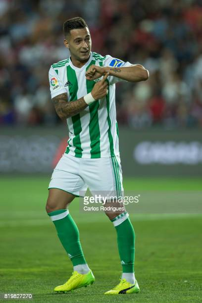 Real Betis forward Sergio Leon celebrates scoring Betis goal during the PreSeason Algarve Cup match between SL Benfica and Real Betis FC at Estadio...