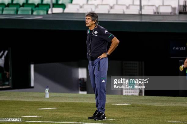 Real Betis Head Coach Manuel Pellegrini during the LaLiga Santander match between Real Betis and Real Madrid at Estadio Benito Villamarin on...