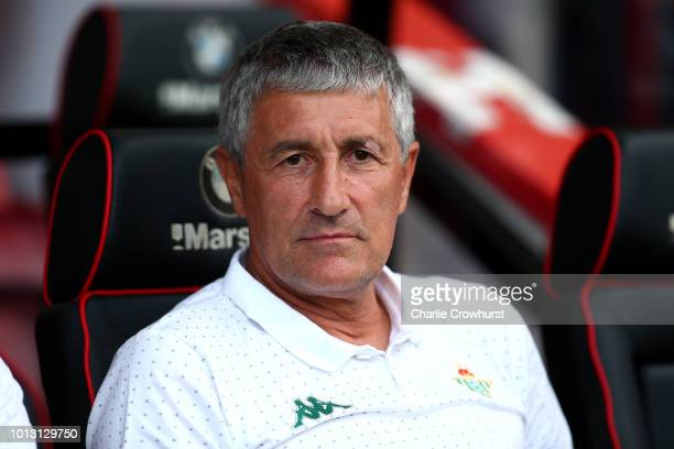 Real Betis manager Quique Setien looks on during the PreSeason Friendly match between AFC Bournemouth and Real Betis at Vitality Stadium on August 3...