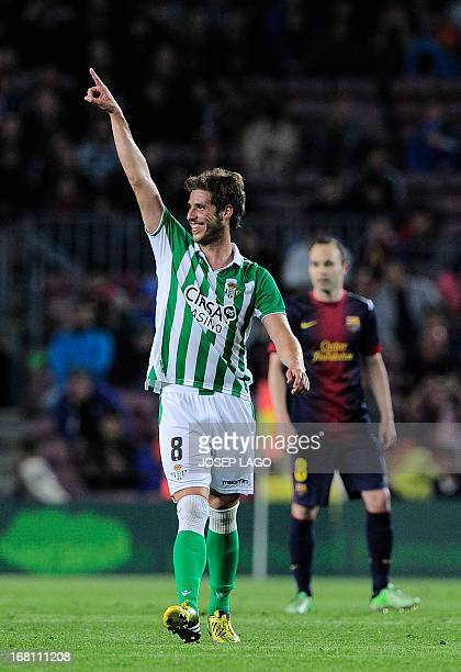 Real Betis' midfielder Ruben Perez celebrates his goal during the Spanish league football match FC Barcelona vs Real Betis at the Camp Nou stadium in...