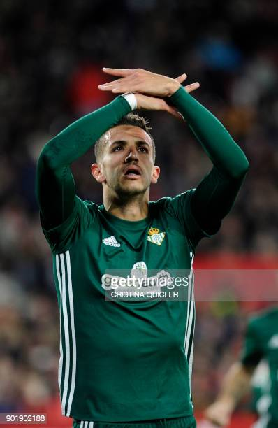 Real Betis' Moroccan defender Zou Feddal celebrates after scoring a goal during the Spanish league football match between Sevilla and Real Betis at...