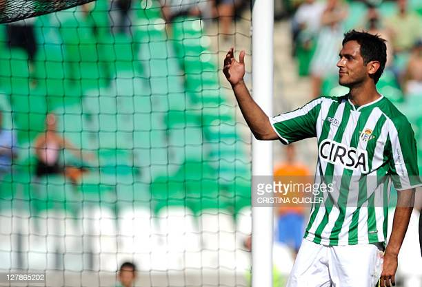 Real Betis' Paraguayan forward Roque Santa Cruz gestures against Levante during a Spanish League football match on October 2 2011 at Benito...
