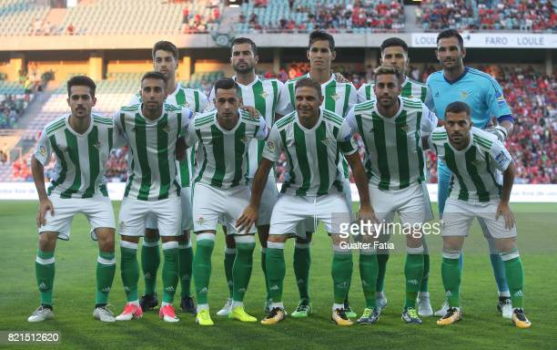 Real Betis players pose for a team photo before the start of the Algarve Cup match between SL Benfica and Real Betis at Estadio Algarve on July 20...
