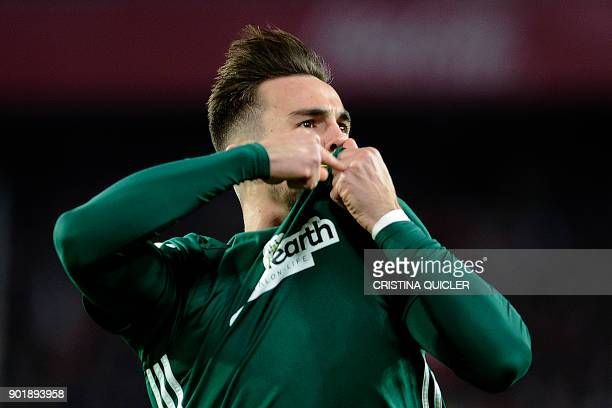 Real Betis' Spanish midfielder Fabian Ruiz celebrates after scoring a goal during the Spanish league football match between Sevilla and Real Betis at...