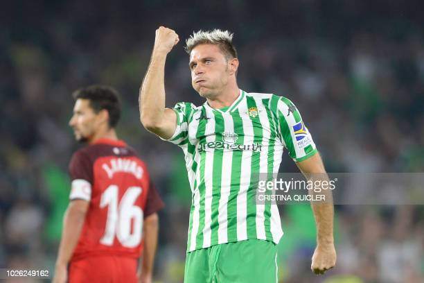 Real Betis' Spanish midfielder Joaquin celebrates after scoring a goal during the Spanish league football match between Real Betis and Sevilla FC at...