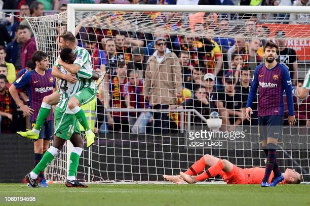 TOPSHOT Real Betis' Spanish midfielder Joaquin celebrates scoring his team's second goal during the Spanish league football match between FC...