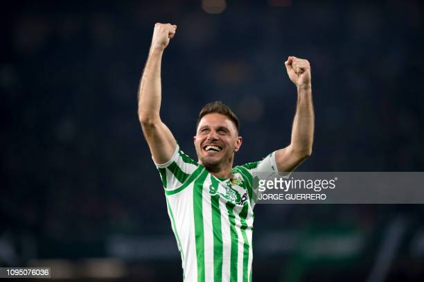 Real Betis' Spanish midfielder Joaquin celebrates scoring their second goal during the Spanish Copa del Rey semifinal first leg football match...