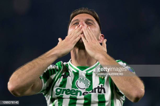 Real Betis' Spanish midfielder Joaquin celebrates scoring their second goal during the Spanish Copa del Rey semi-final first leg football match...