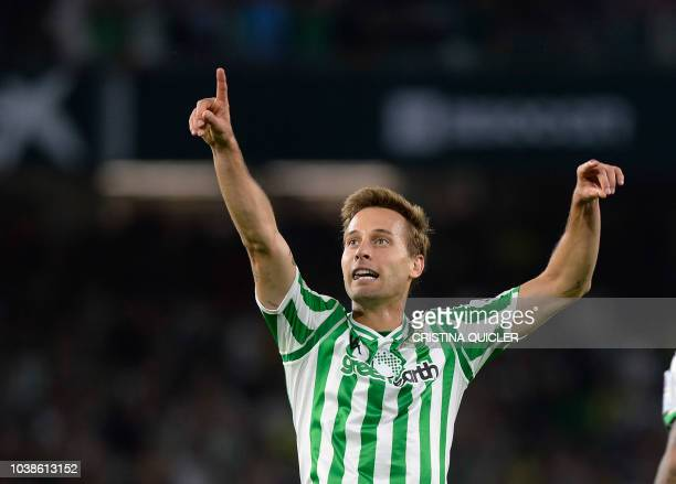 Real Betis' Spanish midfielder Sergio Canales celebrates a goal during the Spanish league football match between Real Betis and Athletic Club Bilbao...