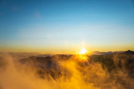 Real Big Sun Over Mountains Horizon 1178126177