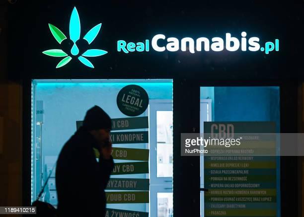 Real Cannabis shop logo seen in Krakow. On Monday, December 17 in Krakow, Poland.