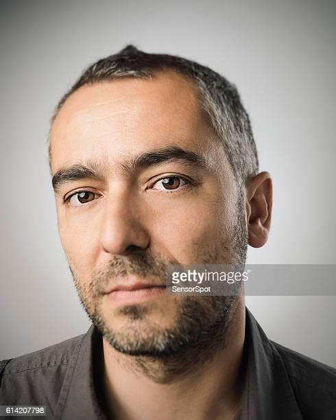 Real caucasian adult man portrait